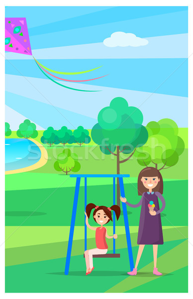 Girl on Swing and Mother Holding Ice Cream Nearby Stock photo © robuart