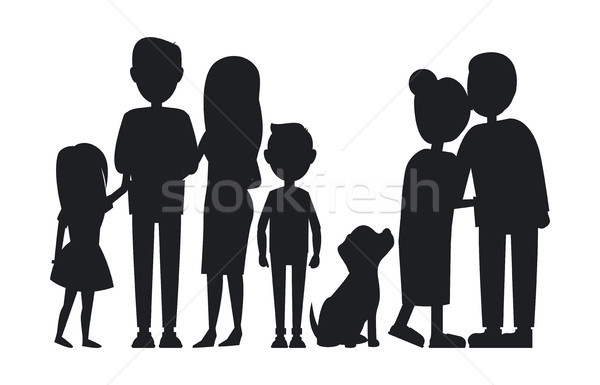 All Family Members Gathered Together, Vector Card Stock photo © robuart