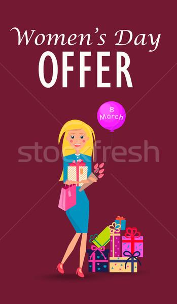 Zdjęcia stock: Kobieta · dzień · kobiet · oferta · karty · kolorowy