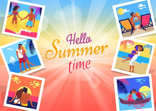 Olá verão tempo bandeira fotos casal Foto stock © robuart