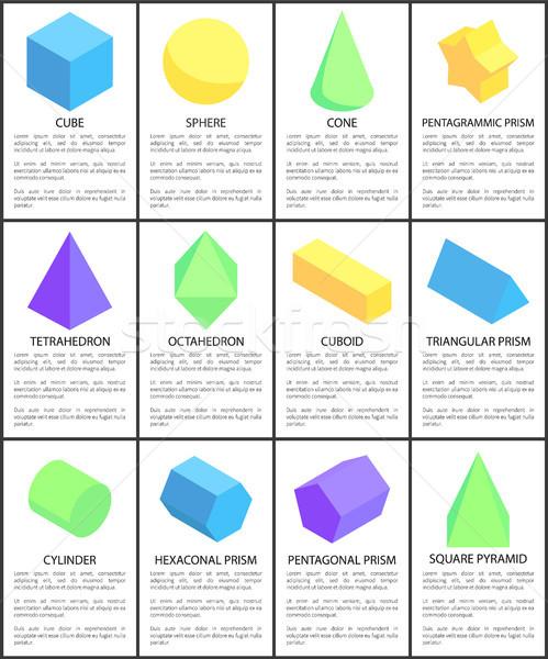 Cube Sphere Cone Octahedron Cylinder Figures Set Stock photo © robuart