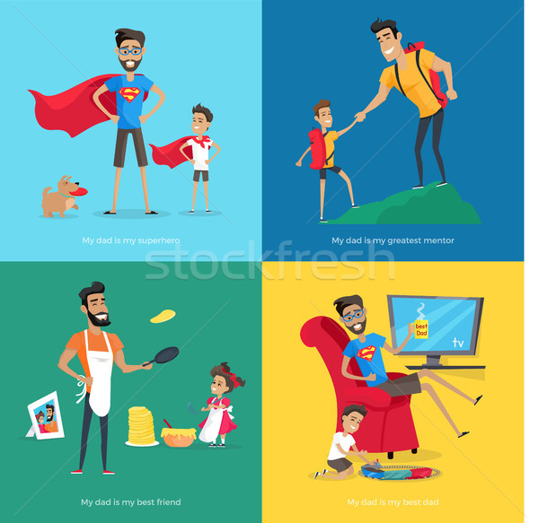 Cute Father Spends Time with Children Collection Stock photo © robuart