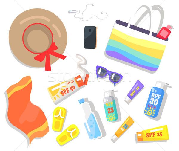 Summer Elements Beach Set Vector Illustration Stock photo © robuart