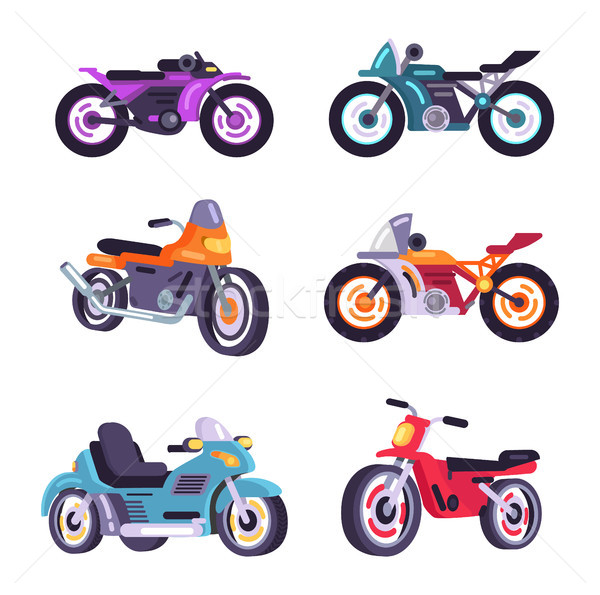 Set Scooter Models Flat Style Design Stylish Moped Stock photo © robuart