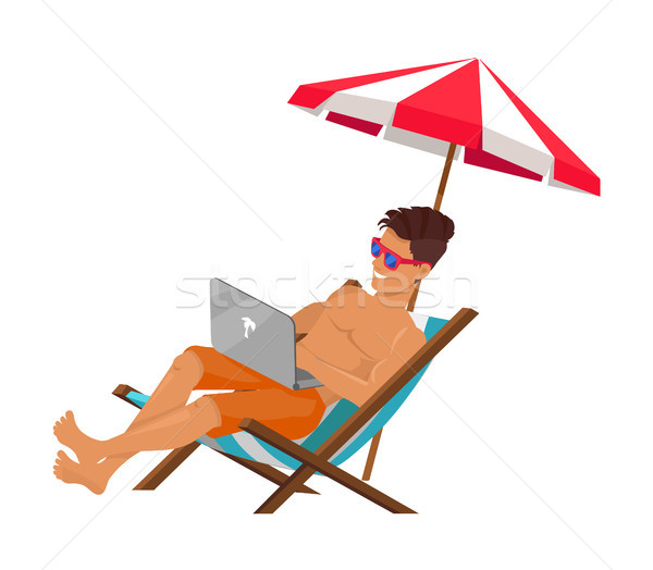 Working Freelancer on Summer Vacation Color Poster Stock photo © robuart