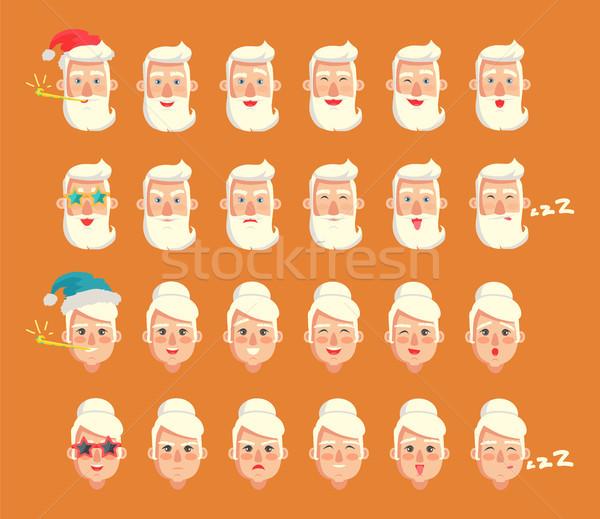 祖父母 感情 セット コレクション 男性 頭 ストックフォト © robuart