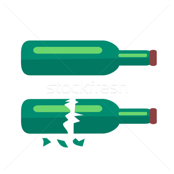 Two Glass Bottles of Beer Isolated Illustration Stock photo © robuart