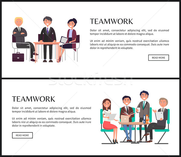 Teamwork for Fast Goal Achievement Promo Banners Stock photo © robuart
