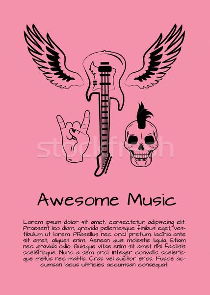 Klassz zene kő poszter szimbólumok rockzene Stock fotó © robuart