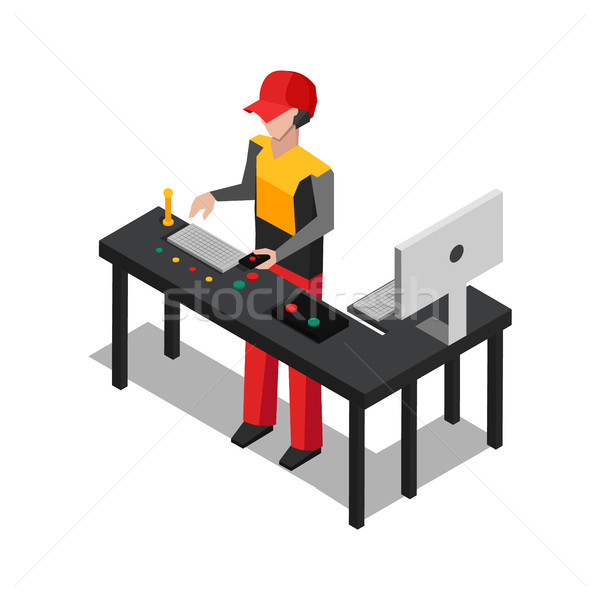 Worker Dealing with Devices Vector Illustration Stock photo © robuart