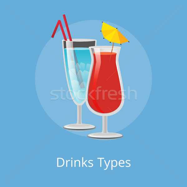 Drinks Types Elite Cocktails with Straws Decorated Stock photo © robuart