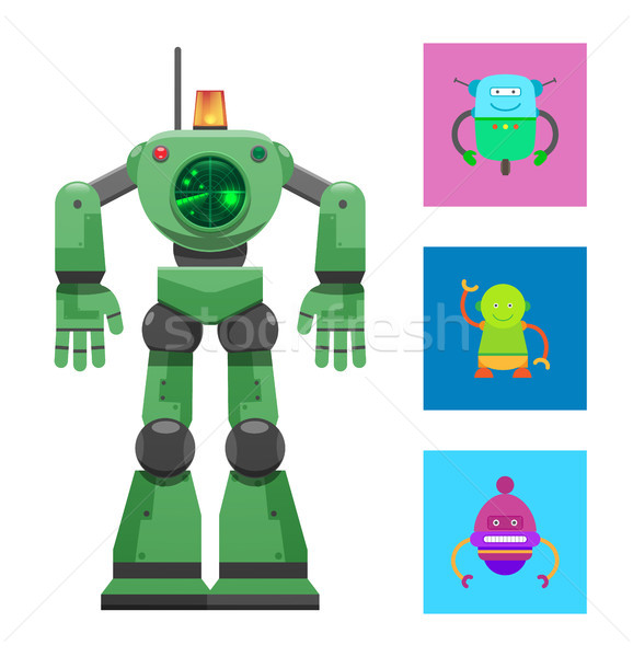 Robot with Radar Collection Vector Illustration Stock photo © robuart