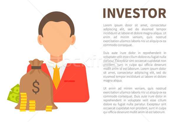 Investor Info Banner with Man in Suit and Money Stock photo © robuart