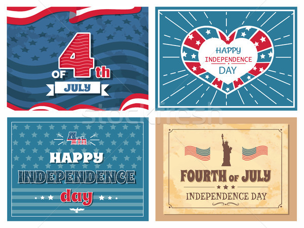 Cuarto día anunciante EUA banderas establecer Foto stock © robuart