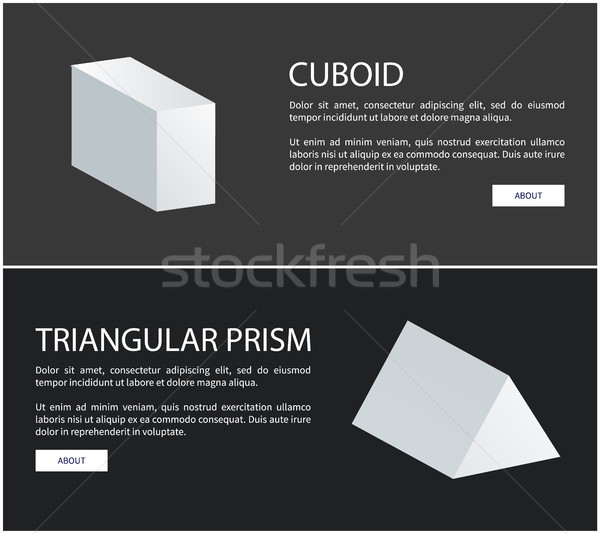 Cuboid and Triangular Prism Vector Web Banners Set Stock photo © robuart