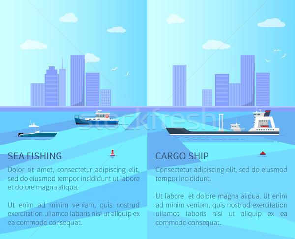 Сток-фото: морем · рыбалки · грузовое · судно · большой · долго · два