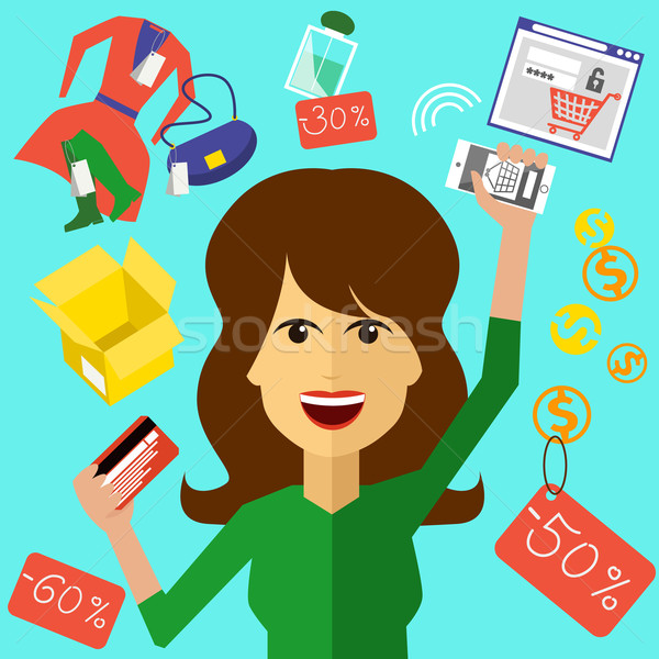 Happy woman with a card and phone in hands Stock photo © robuart
