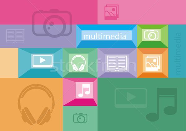 Multimédia ikonok felhasználó interfész elemek színes Stock fotó © robuart