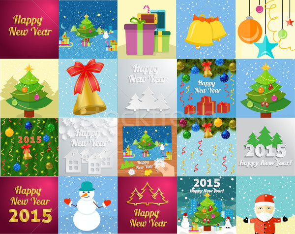 New Year greeting card with christmas tree snowman Stock photo © robuart
