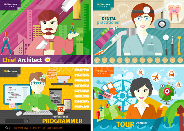 Travel agent, architect, dentist and programmer Stock photo © robuart
