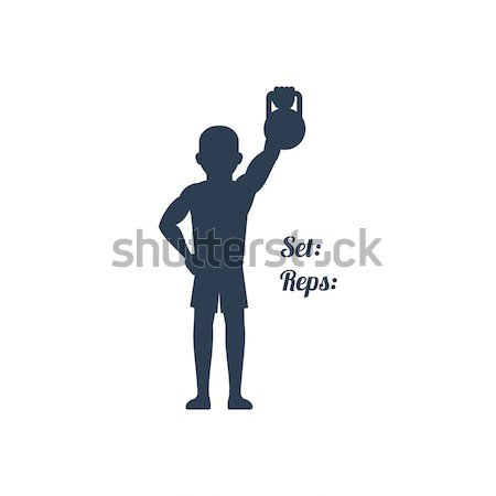 Athlete Pulled up his Left Arm with Kettlebell Stock photo © robuart