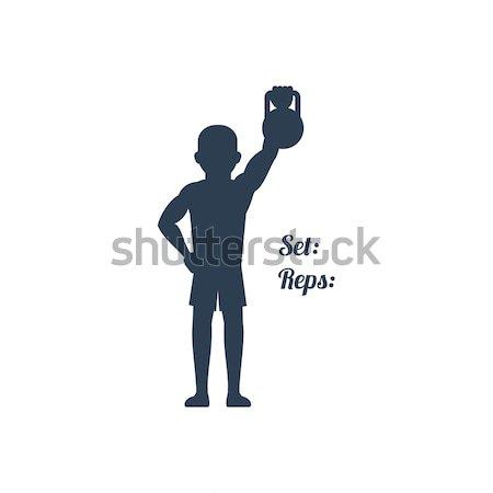 Atleta para cima braço esportes silhuetas Foto stock © robuart