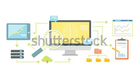 Puce technologie seo analytics icône web Photo stock © robuart