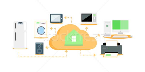 Smart домашнее хозяйство икона дизайна домой Сток-фото © robuart