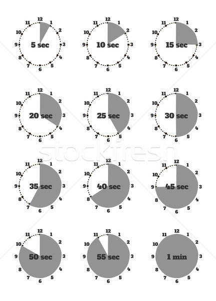 Set of Time Second Stopwatch Design Flat Stock photo © robuart