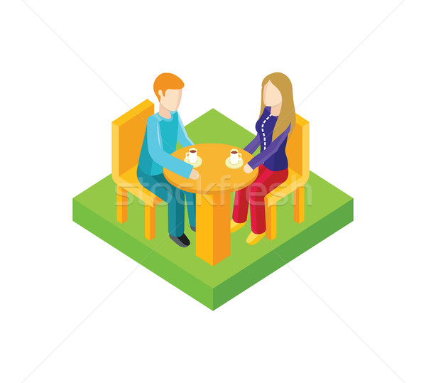 Couple Date in Cafe Isometric Design Stock photo © robuart