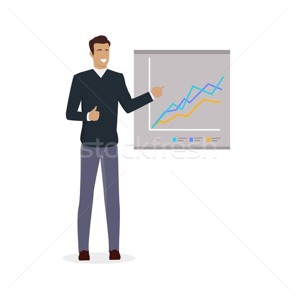 Homem conselho gráficos treinamento pessoal instruções Foto stock © robuart