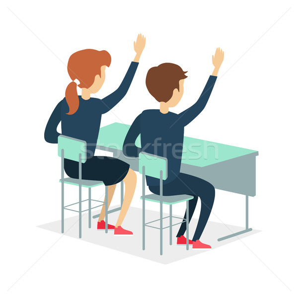 Kettő ül iskola asztal iskolás kéz Stock fotó © robuart