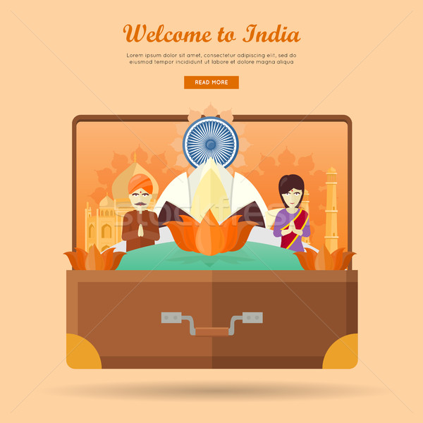 India Travel Banner. Indian Landmarks in Suitcase Stock photo © robuart