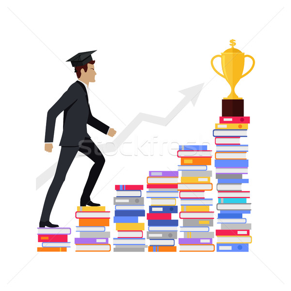 Male Young Businessman Going Upstairs on Books. Stock photo © robuart