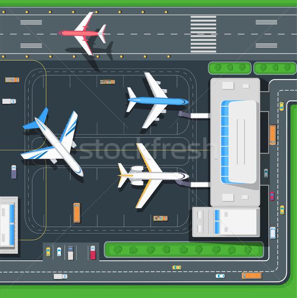 Uçak havaalanı üst görmek modern altyapı Stok fotoğraf © robuart