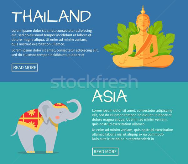 Szett Ázsia Thaiföld vektor háló bannerek Stock fotó © robuart