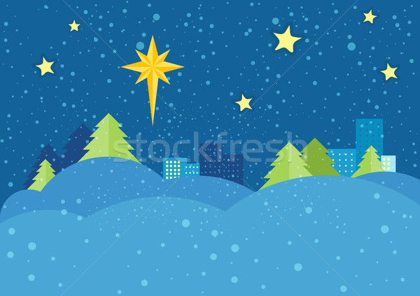 Christmas Night Vector Concept in Flat Design Stock photo © robuart