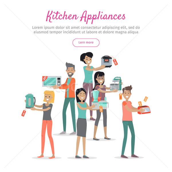 Mutfak aletleri ayarlamak insanlar depolamak satış dizayn Stok fotoğraf © robuart