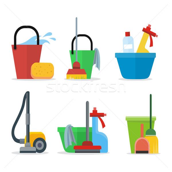 Conjunto limpeza equipamento balde esponja trapo Foto stock © robuart