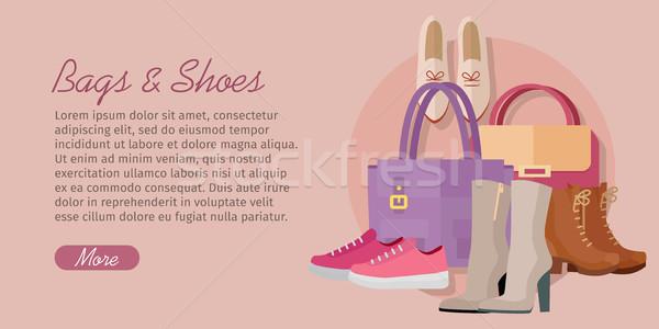 Taschen Schuhe Design Vektor Stil Sammlung Stock foto © robuart