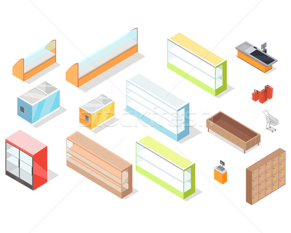 Set of Supermarket Furniture and Equipment Vector Stock photo © robuart