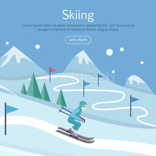 Skiing Banner. Skier on Snowy Sope. Way in Hills Stock photo © robuart