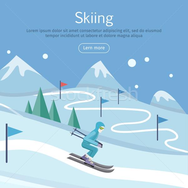 Ski bannière skieur façon collines pente Photo stock © robuart