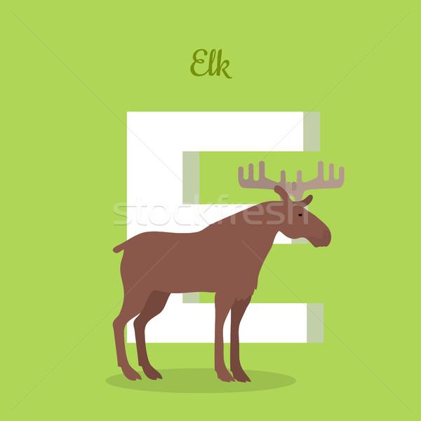 Elk with Letter E Isolated. ABC, Alphabet. Stock photo © robuart