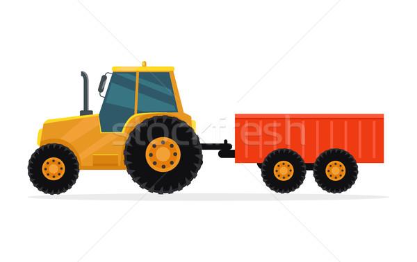 Trator vetor projeto industrial transporte carga Foto stock © robuart