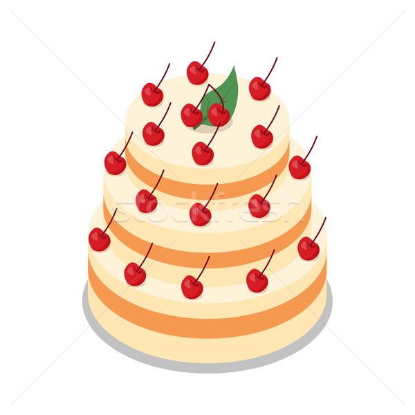 Cake in Three Tiers Decorated with Many Cherries Stock photo © robuart