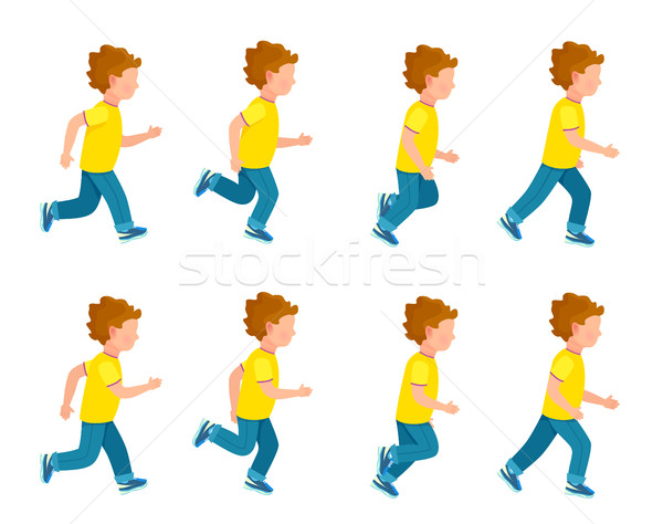 Running Boy Animation Sprite Set. 8 Frame Loop. Stock photo © robuart