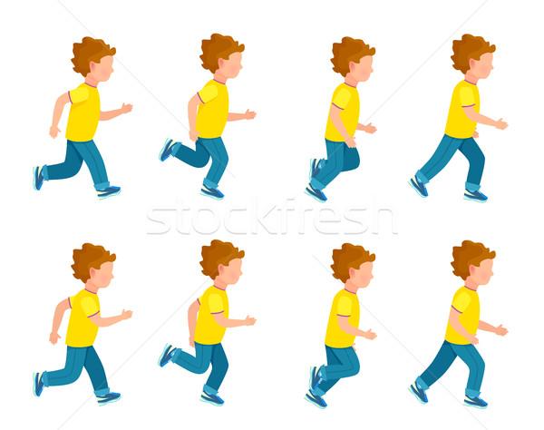 Esecuzione ragazzo animazione set frame cappio Foto d'archivio © robuart