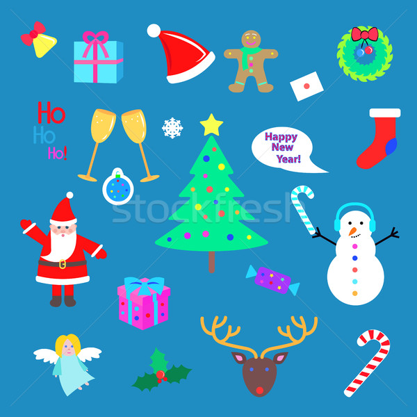 Set of Happy New Year and Merry Christmas elements. Stock photo © robuart