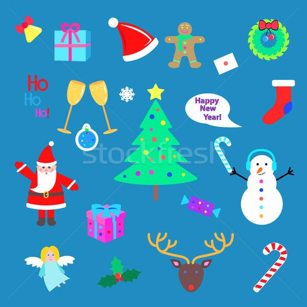 Conjunto feliz ano novo alegre natal elementos Foto stock © robuart